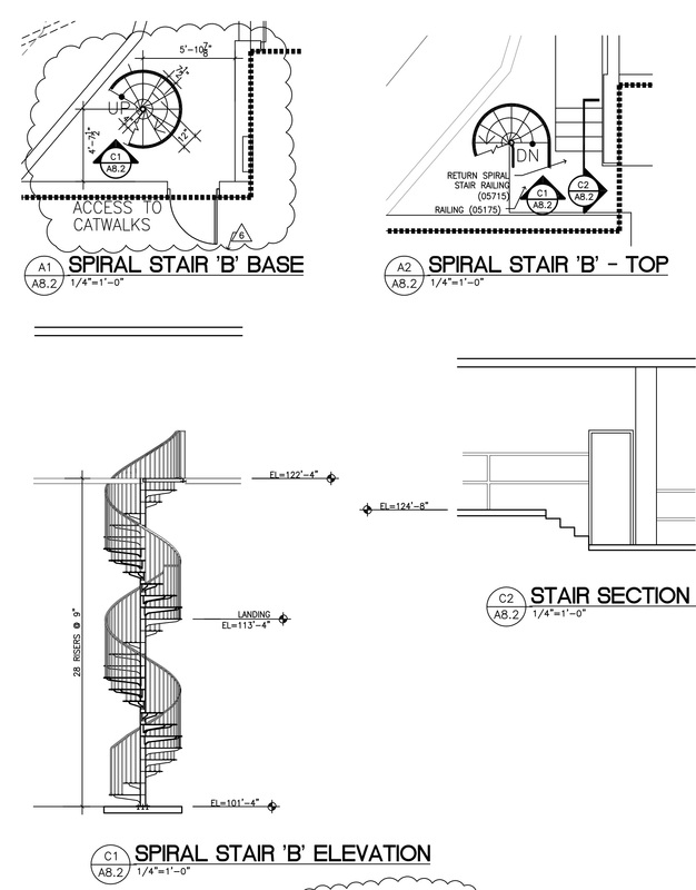 Fabricated Spiral Stair Cad Details - Photos Freezer and Stair