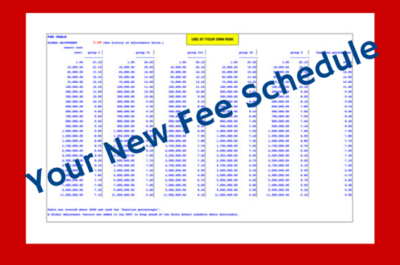 Your New Fee Schedule